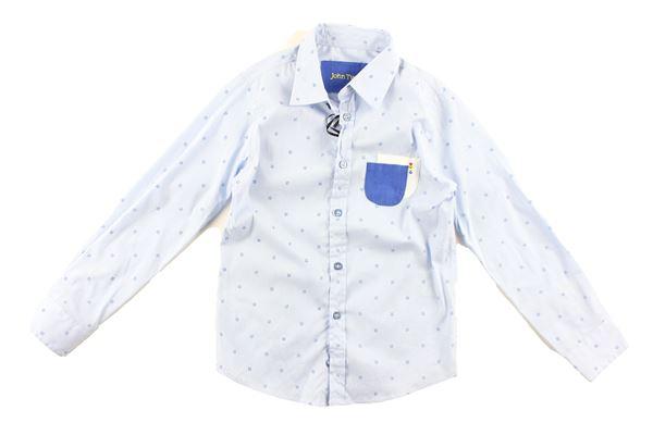 camicia manica lunga tinta unita con microfantasia JOHN TWING | Camicie | JTB9165CELESTE