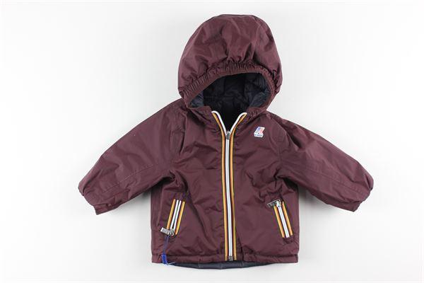 giubbino reversibile bicolore con zip e cappuccio K-WAY | Giubbini | K001K40BLU/BORDEAUX