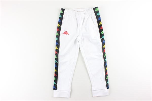 pantalone tuta tinta unita con profili in contrasto KAPPA   Pantaloni   39114CWBIANCO