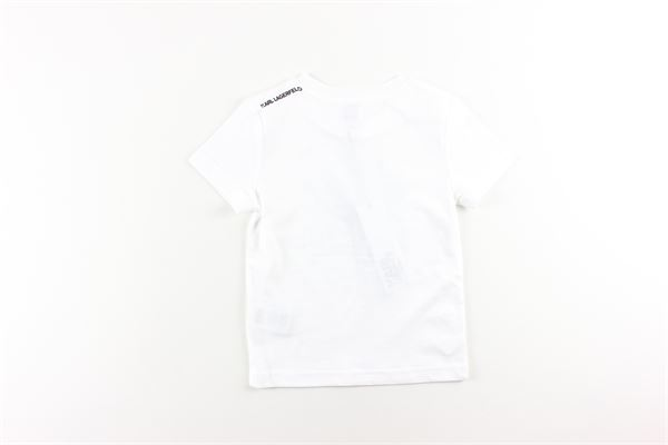 t-shirt tinta unita con stampa KARL LAGERFELD   T-shirts   Z25253BIANCO