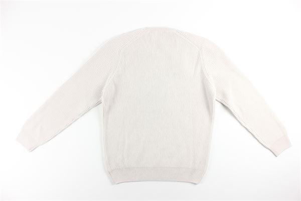 maglia girocollo tinta unita con microfantasia LA FILIERA | Maglie | 23129BEIGE