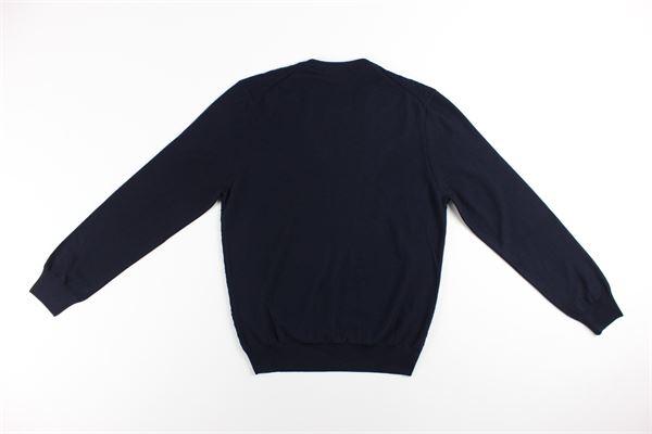 maglia girocollo tinta unita con microfantasia LA FILIERA | Maglie | 57166BLU