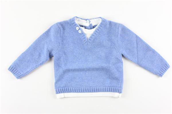 maglia tinta unita con finta shirt LE BEBE'   Maglie   LBB2852CELESTE