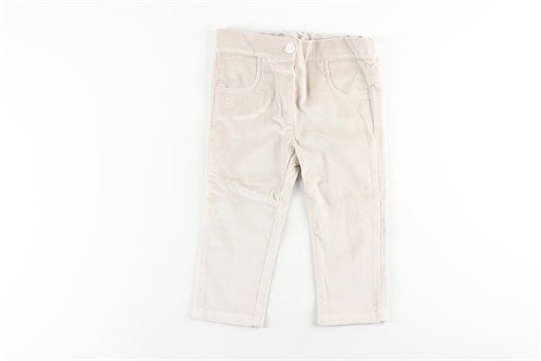 pantalone tinta unita in velluto girovita regolabile LE BEBE'   Pantaloni   LBG2292BEIGE