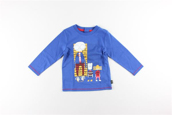 shirt tinta unita con stampa LITTLE MARC JACOB | Shirts | W05266BLU ELETTRICO