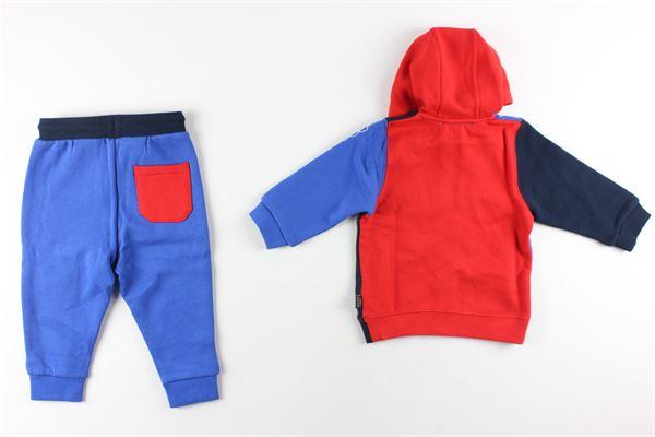 felpa con zip e cappuccio tricolore pantalone tinta unita con stampa LITTLE MARC JACOB | Completi | W08067BLU/ROSSO