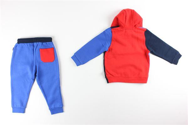 felpa con zip e cappuccio tricolore pantalone tinta unita con stampa LITTLE MARC JACOB | Completi | W08067ROSSO/BLU