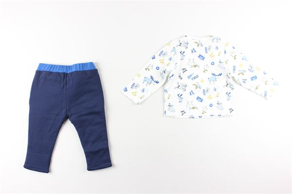 shirt tinta unita con stampa e pantalone tinta unita LITTLE MARC JACOB | Completi | W98115BIANCO/BLU