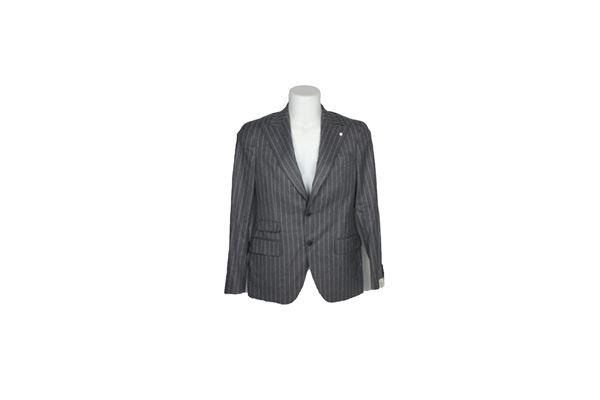 giacca e pantalone tinta unita fantasia a righe 100%lana LUIGI BIANCHI MANTOVA SARTORIA | Completi | A930893444/11GRIGIO