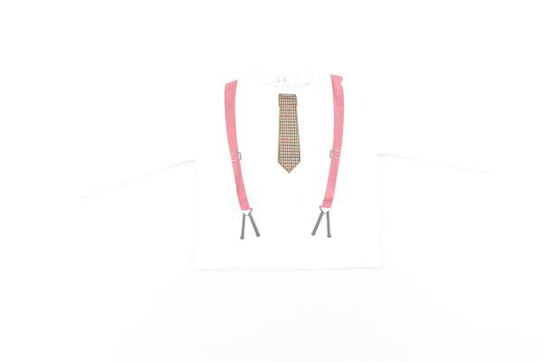 shirt tinta unita con stampa bretelle e cravatta NANAN | Shirts | I19132BIANCO
