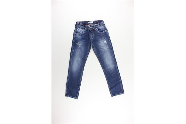 jeans tinta unita con girovita regolabile MANUEL RITZ | Jeans | MR0793BLU
