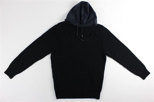 maglia bicolore con cappuccio MESSAGERIE | Maglie | 041243T09533NERO