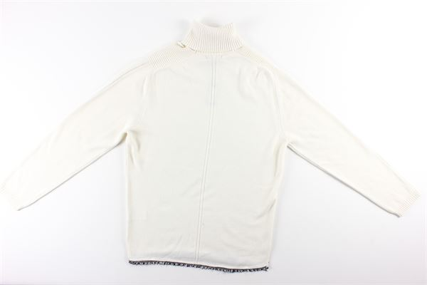 maglia con zip e collo alto tinta unita MESSAGERIE | Maglie | 041262T09930PANNA
