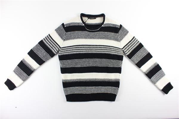 maglia fantasia a righe bicolore girocollo MESSAGERIE | Maglie | 041269T09934NERO/BIANCO