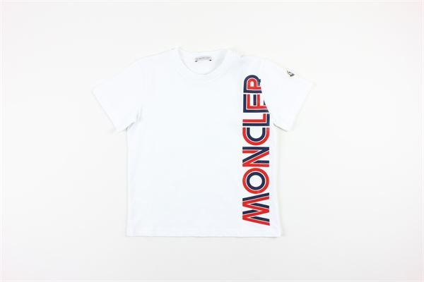 t-shirt mezza manica tinta unita con stampa logo MONCLER | T-shirts | 8C7262083092BIANCO