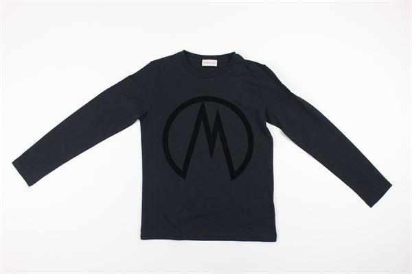 shirt manica lunga tinta unita con stampa logo tono su tono MONCLER | Shirts | F29548070620NERO