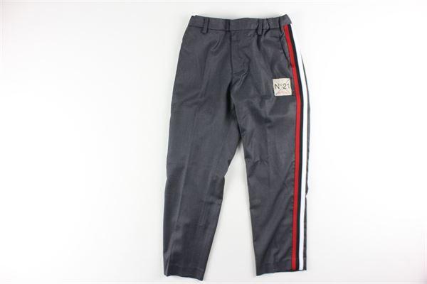 pantalone tinta unita con profili in contrasto elastico in vita N°21 | Pantaloni | N2142GRIGIO