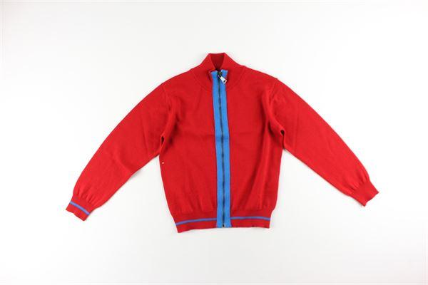 maglia  con zip mezzo collo tinta unita con profili in contrasto N°21 | Maglie | N21439ROSSO