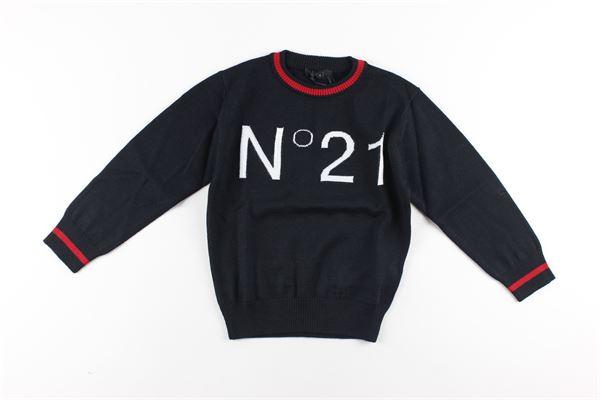 maglia tinta unita con stampa logo N°21 | Maglie | N214DNNERO