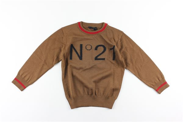 maglia tinta unita con stampa logo N°21 | Maglie | N214DNTABACCO