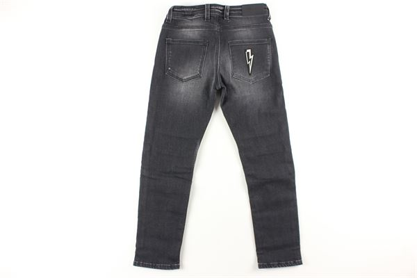jeans tinta unita con girovita regolabile NEIL BARRETT | Jeans | 020556127NERO