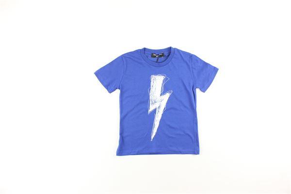 t-shirt tinta unita con stampa NEIL BARRETT | T-shirts | 0206171100BLU