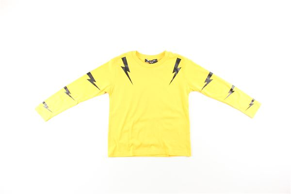 shirt tinta unita con stampa NEIL BARRETT | Shirts | 020626001GIALLO