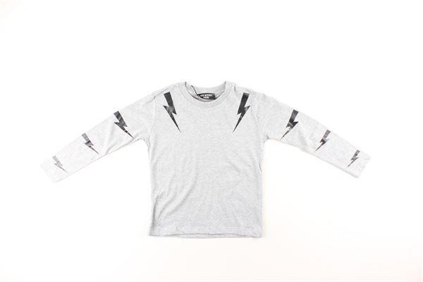 shirt tinta unita con stampa NEIL BARRETT | Shirts | 020626001GRIGIO