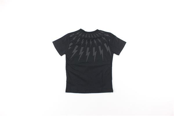 t-shirt tinta unita con stampa NEIL BARRETT | T-shirts | 02063340NERO