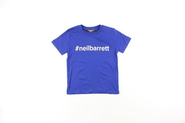 t-shirt tinta unita con stampa NEIL BARRETT | T-shirts | 020638040BLU