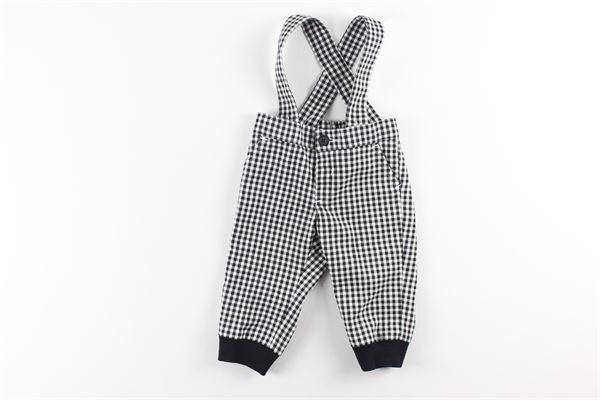 pantalone fantasia a quadri con bretelle OFFICINA 51 | Pantaloni | 53056NERO/BIANCO