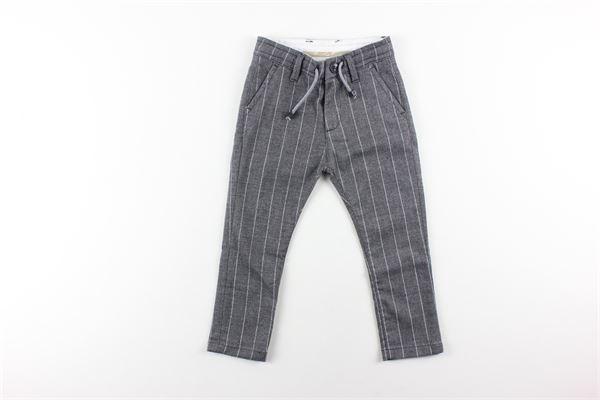 pantalone tinta unita fantasia a righe elastico in vita PAOLO PECORA   Pantaloni   PP1017GRIGIO