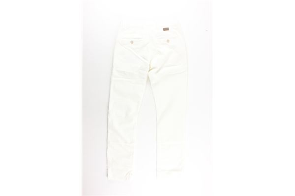 pantalone tinta unita a costine con girovita regolabile PAOLO PECORA   Pantaloni   PP1465TBIANCO