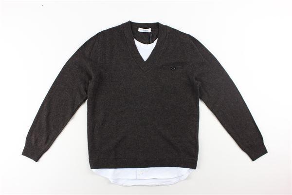 maglia scollo v tinta unita con finta camicia PAOLO PECORA   Maglie   PP1914MARRONE