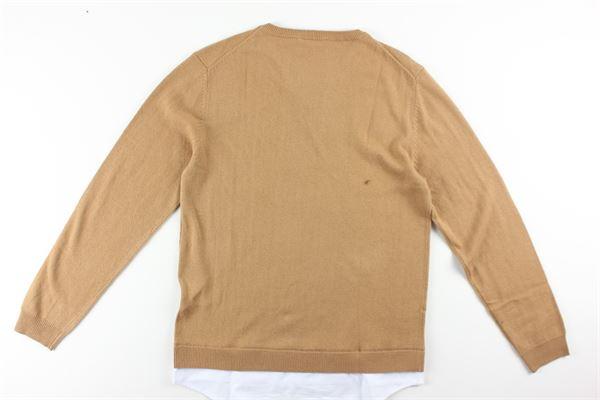 maglia girocollo tinta unita con finta shirt PAOLO PECORA   Maglie   PP1938TABACCO