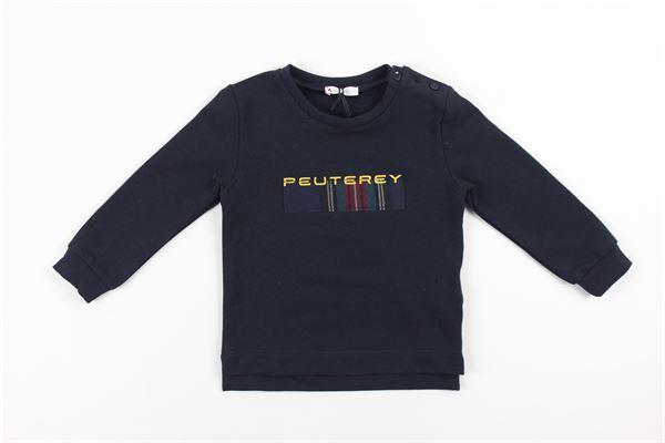 felpa tinta unita con stampa logo PEUTEREY | Felpe | PTB1580BLU