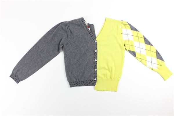 cardigan bicolore con applicazione SEMICOUTURE | Cardigan | W0/S/S0WG01GRIGIO/VERDE ACIDO