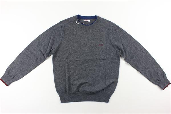 maglia tinta unita con collo in contrasto SUN68 | Maglie | K40305GRIGIO