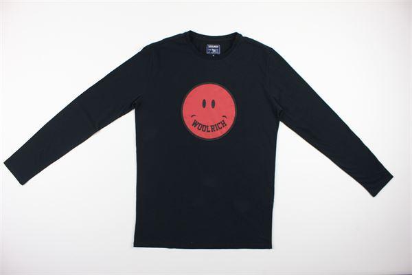shirt tinta unita con stampa WOOLRICH | Shirts | WKTEE1248NERO