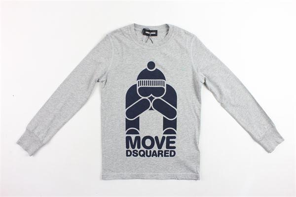 shirt manica lunga tinta unita in cotone con stampa DSQUARED | Shirt | 013GD00GZDQGRIGIO