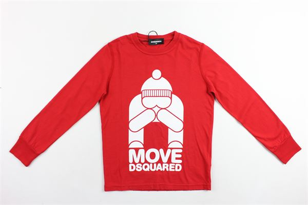 shirt manica lunga tinta unita in cotone con stampa DSQUARED | Shirt | 013GD00GZDQROSSO