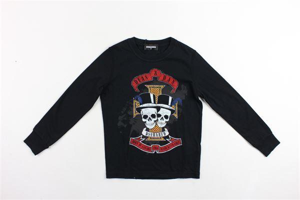 shirt manica lunga tinta unita in cotone con stampa DSQUARED | Shirt | 015DD0006DQNERO