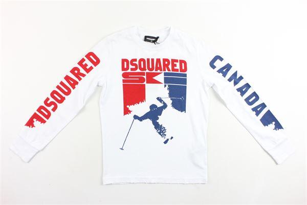 shirt manica lunga tinta unita in cotone con stampa DSQUARED | Shirt | DQ013ND00GEDQ100DSQBIANCO