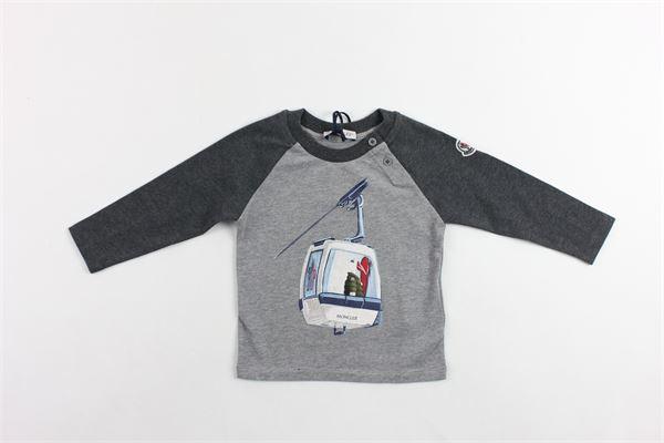 shirt manica lunga in cotone tinta unita con stampa maniche in contrasto MONCLER | Shirts | 800975087275987GRIGIO