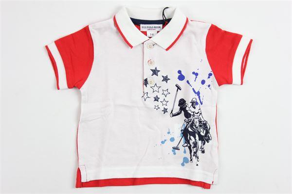 U.S. POLO   shirt   9909WHITE/RED