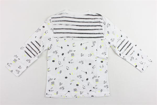 shirt manica lunga tinta unita con stampa e toppe alle maniche 3 POMMES | Shirts | 10023BIANCO