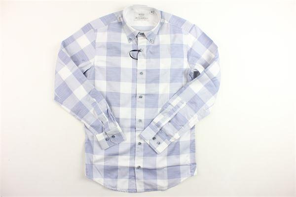 camicia manica lunga fantasia a quadri ACQUAROLI | Camicie | A188666CELESTE
