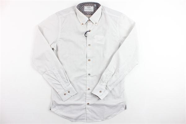 camicia manica lunga microfantasia ACQUAROLI | Camicie | A1886BIANCO