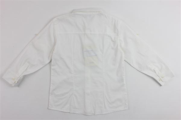 camicia manica lunga tinta unita con stampa quadrifoglio ALETTA | Camicie | 8662BAINCO