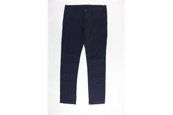 pantalone tinta unita in cotone tasca america microfantasia ALETTA | Pantaloni | N88125TBLU